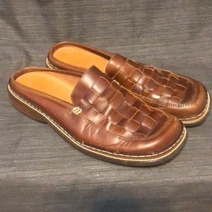 Frye Corsica Woven Leather Brown Mules